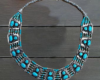 Turquoise and Lapis necklace/ Tribal lapis lazuli necklace/ statement jewelry/ statement necklace/ boho ethnic necklace