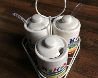 Rainbow Condiment Set/Set of 3 Condiment Jars/Mustard, Ketchup, Relish Jars
