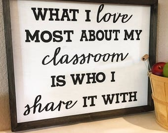 What I Love About My Classroom Sign