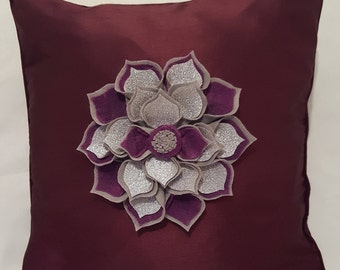 Designer, 3D Handmade Silver, Plum Flower Decorative Luxury Cushion Cover Throw Pillow