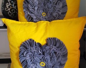Designer, 3D Handmade Grey Petal Decorative Yellow Cotton Cushion Cover Throw Pillow