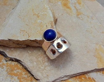 Bronze and silver ring with Lapis lazuli