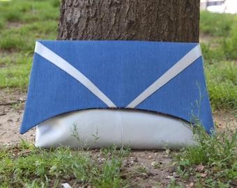 Contrast Geometric Faux Silver Metallic -vs- Blue Denim Envelope Style Clutch