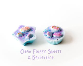 Clean Fluffy Sheets & Barbershop Wax Melts (4.2) - Wax Tarts - Fresh Scents - Handmade Wax Melts - Hand Poured Wax - Fresh Fragrances - Wax