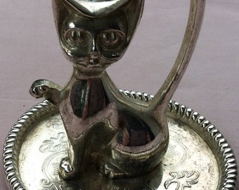 Cat figurine vintage silver plated brass