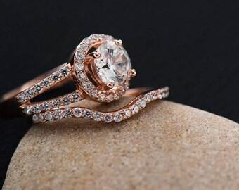 Unique Engagement Ring Set Promise Couples Couple Rose Gold
