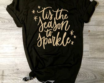 Christmas Shirt, Tis the Season to Sparkle Shirt, GOLD SHIMMER Merry & Bright Tee, Sweater Holiday Shirt Women, Women's Christmas Shirt