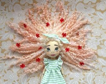 Rag doll, fabric doll, art doll, bead jointed cloth doll, factory doll, OOAK doll, green eyes