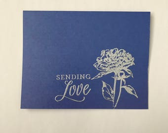 Sending love greeting card set of 12- blue and silver