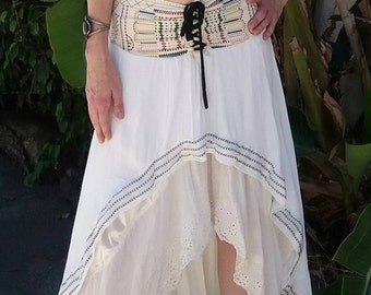 Stevie Nicks style skirt with embroidery and layered lace