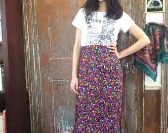 Mind Flowers Bright Psychedelic Maxi Skirt with Side Slit 60s Size Small