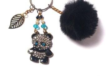Panda Keychain - Keychain Bear - Keychain Animal - Keychain Pom Pom - Leaf Pendant - Diamond Keychain - Gift For Her