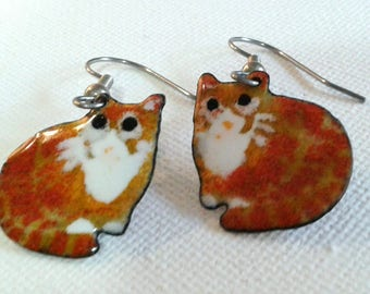 Ginger cat earrings, tabby cat earrings, ginger and white cat earrings