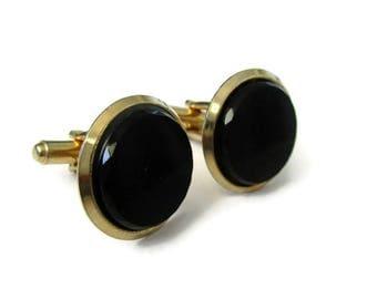 Vintage black cuff links, round black cuff links, gold and black cuff links, simple black cuff links, jewelry for men