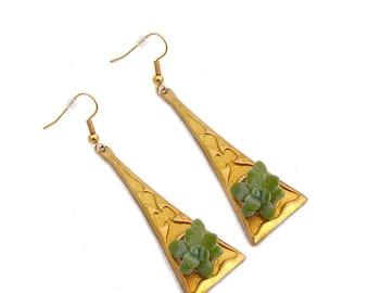 Boucles d'Oreilles Séraphine : bijoux végétal, parure de mariage, demoiselle d'honneur, baptême, soirée événementielle, plantes grasses