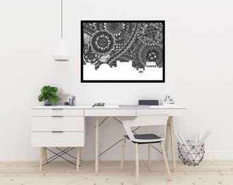 Rome, Skyline, Poster, Italy, Print, Digital Illustration, Home Decore, City Silhouette, Black and White, Coliseum, Gift, Collectable, Arte