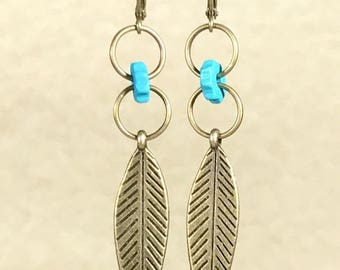 Bronze Feather Earrings Turquoise Earrings Feather Earrings Tribal Earrings Nature Earrings Bohemian Jewelry Boho Earring