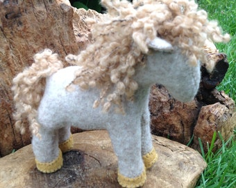 Pony Pal, beige and golden, recycled felted wool sweater, Waldorf aesthetic, wool stuffed, nature table