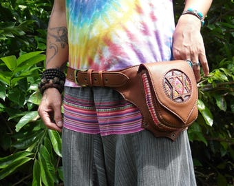 Brown Fanny Pack / Hippie Waist Bag / Festival Bag / Star Fanny Pack