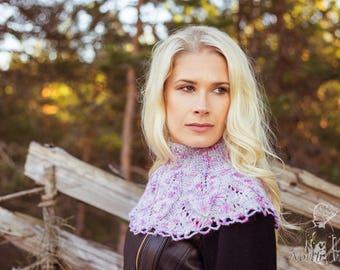 "Hand Knitted Purple Wool Collar ""Kristine"""