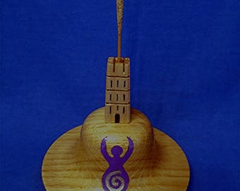 Handmade & Hand-Painted Wooden Incense Stick Holder, Glastonbury Tor with The Goddess Of Avalon, Glastonbury.
