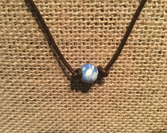 """Blue/white pearl/ double bead / bead closure / leather / cowhide / choker / necklace / 16"""""""