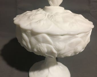 "Vintage Fenton White Water Lilly Compote Candy Dish Footed with Lid approx 8"" High"