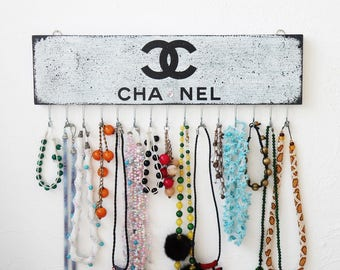 Chanel necklace holder wall, Jewelry Organizer wall