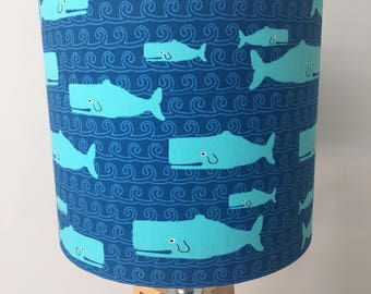 Whales Fabric Drum Lampshade