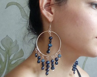 Black Pearl Necklace, Boho Necklace, Long Necklace,