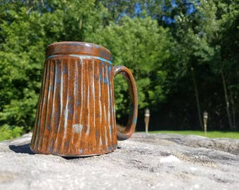 Handmade Ceramic Mug – earthenware clay beer coffee mug stein green brown turquoise