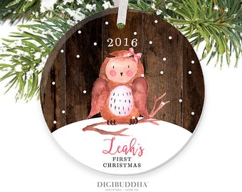 Baby's First Christmas Ornament Little Owl Ornament Personalized Children's Ornament Baby Girl Ornament Rustic Faux Wood Ornament Baby Owl