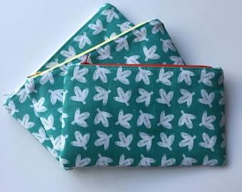 Korean Fabric Scandinavian style deciduous leaves pouch -  Makeup pouch, Zipper pouch