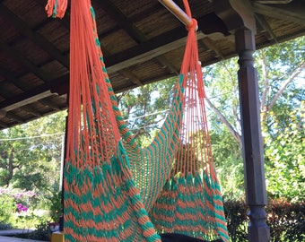 Natural Orange Green Hammock Chair