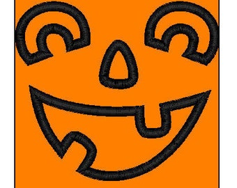 Jack-o-lantern applique embroidery design Halloween pes 3 sizes pumpkin