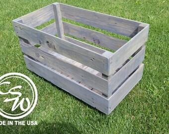 "Wood Crate 24"" x 12"" x 12"" Storage Bin with Distressed Finish, storage bins, distressed wood crate shelf, cabin box, farm crate cabin box"