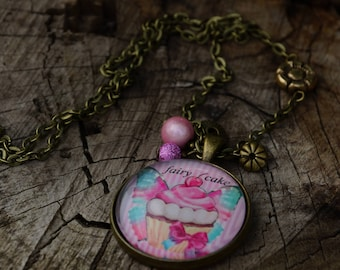 Pastel blue and pink cupcake cabochon necklace