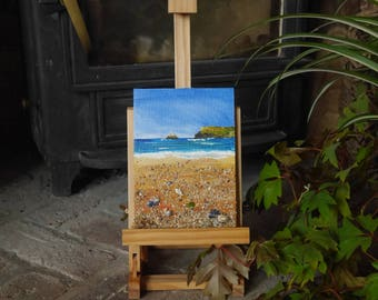 Polzeath Cornwall Seascape with Shells, sand, seaweed and seaglass on canvas board