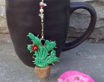 Cactus Tea Infuser with Pink Dish - Handmade Prickly Pear Cactus Tea Trinket Infuser