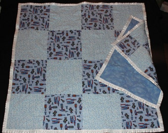 Tools, Baby Quilt, Baby Blanket, Tag-along, Patchwork Quilt, Throw, Lovie, Blue