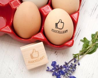Egg Stamp - Chickens - Wooden Egg Stamp - Fresh Eggs Stamp -  Farm Fresh Eggs - Chicken Coop - Homestead Stamp - Rubber Stamp - Eggcellent