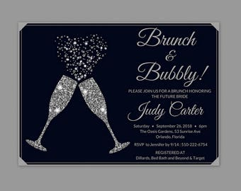 Brunch and Bubbly Bridal Shower Invitation, Champagne Invitation, Bridal Shower Invitation, Bridal Shower Invitation Printable