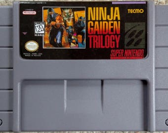 Ninja Gaiden Trilogy SNES Reproduction Cartridge - New Repro - Gray Cart
