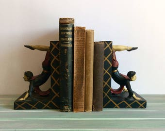 Vintage Circus Bookends, Mark Roberts Collection Acrobat Bookends, Harlequin, Office Decor, Vintage Bookshelf, Cirque du Soleil Inspiped