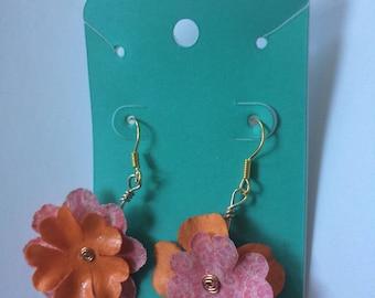 Pink and Orange Flower Earrings