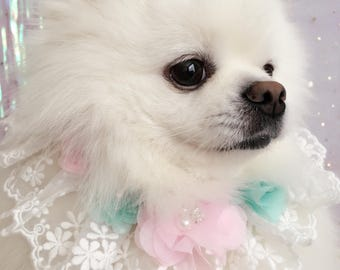 03-Mint Green and Baby Pink Flower Collar,Dog Flower Coller, Dog Lace Collar,Wedding Dog Collar, Birthday Dog Collar, Pet Fashion