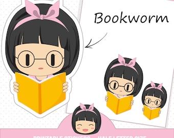 School stickers, Book reading stickers, Study stickers, Fits Erin Condren planner, College stickers, Class sticker, Bookworm sticker MAPBH04