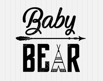 Baby Bear SVG Cutting File  svg- svg, dxf, eps, png, Pdf - Download - Cut File, Clipart - Cricut Explorer - Silhouette Cameo