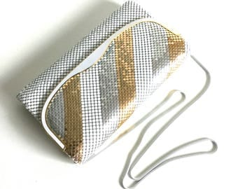 80s white / silver / gold metal mesh shoulder bag / clutch with slinky white chain