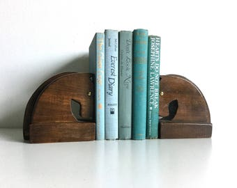 Wooden horse head bookends pair